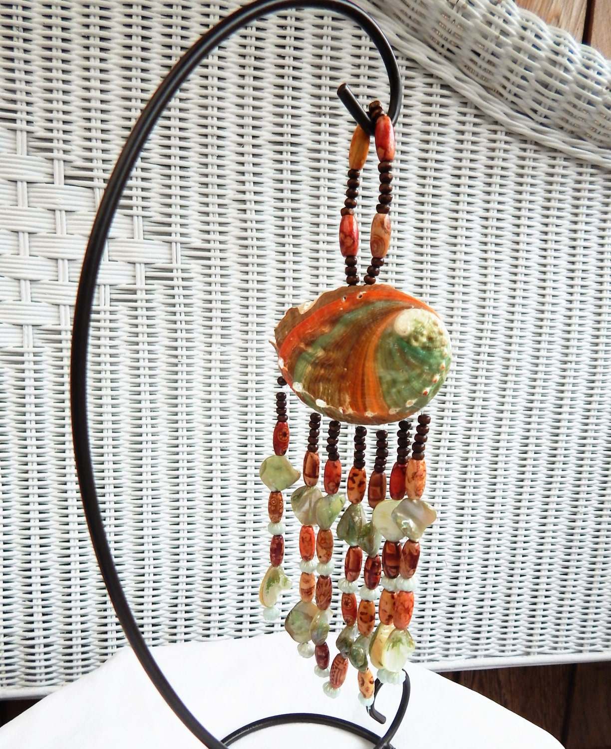 bejeweled wind chime wall d cor beach themed hanging shell. Black Bedroom Furniture Sets. Home Design Ideas