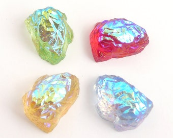 Vintage glass Kryptonite, rock-shaped stones, Aurora Borealis, flat back, 4 colors, 18x13mm - 2pcs - A51