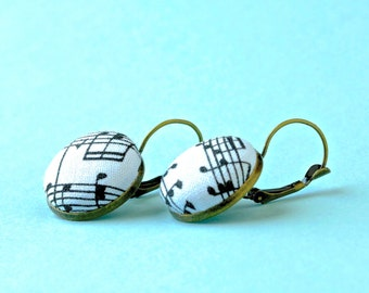 Music teacher gift | Quirky earrings | Music note earrings | Gift for music lover | Black and white jewelry