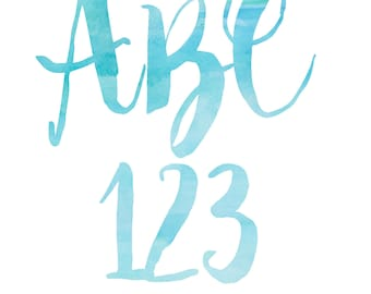 Blue Watercolor Alphabet-Blue Watercolor Letters-Blue Watercolor Clipart-Digital Download
