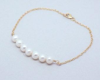 Bar Pearl Bracelet. Freshwater Pearl. Bridesmaid Bracelet. Gold Bracelet 14k Gold-Filled. Sterling Silver.