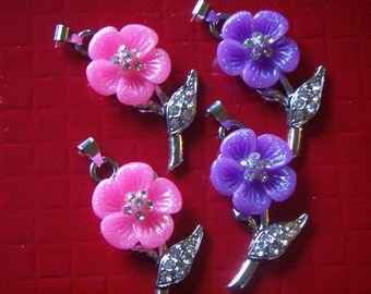Flower With Swarovski Crystals Pendant Necklace  Charms For Pendant Necklace or Earrings  2pcs  Pinch Clip Clasp Pink or Purple  Charm DIY