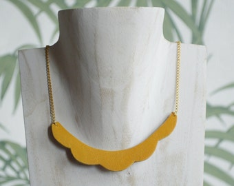 Necklace leather/glitter reversible cloud, yellow / copper