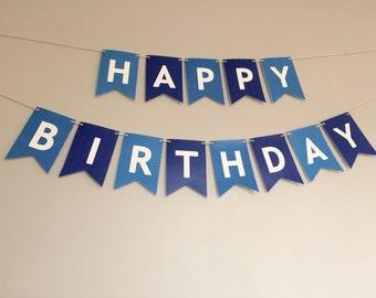 happy birthday banner   modern bunting   navy + light blue + white   boys guys birthday decor *instant download*