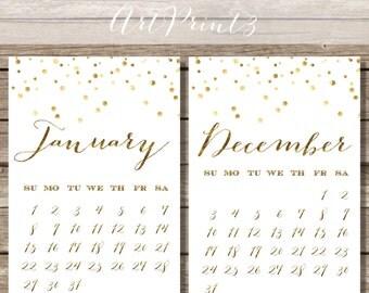 Gold Monthly Calendar, Monthly Calendar Printable, 2017 Printable Calendar, DIY Monthly Calendar, Gold Confetti Calendar Printable