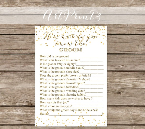 How Well Do You Know The Groom Gold Confetti Who Knows The