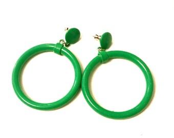 Green Vintage Hoop Earrings