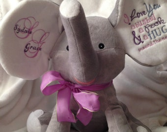 Stuffed Elephant; Personalized Elephant; Embroidered Plush Elephant; Personalized Baby Gift