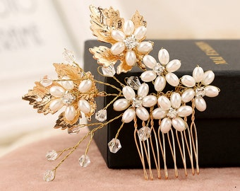 wedding romantic crystal pearl hair comb gold leaf flower combs bride gold plated hair jewelry handmade bridal hair accessories