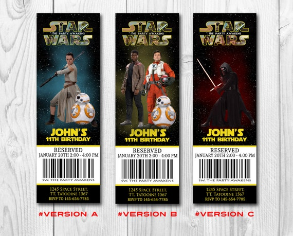 Star Wars Birthday Ticket Invitation, Darth Vader Party Invite, The Force Awakens Digital Invitations by Printadorable - Customizable
