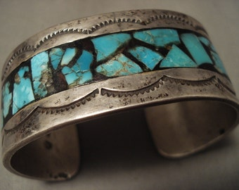 Mystical Vintage Navajo 'Turquoise Brick' Silver Bracelet
