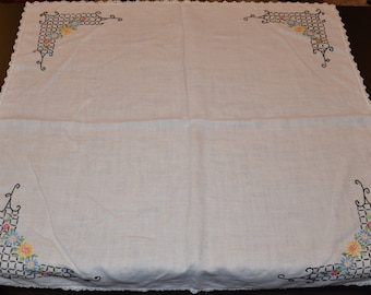 Vintage 35 inch Square Off White Hand Embroidered Linen Tablecloth, Vintage Tablecloth