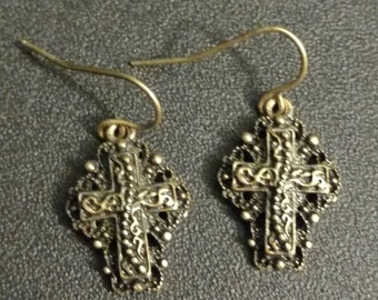 Vintage Style Gold Cross Earrings