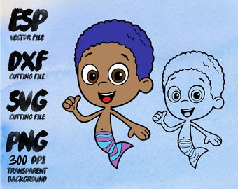 Bubble Guppies Goby , SVG Cutting , ESP Vectors files , T shirt , iron on , sticker ,Personal Use