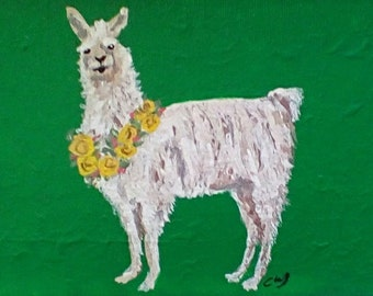 Original Painting of a Llama Wearing a Garland