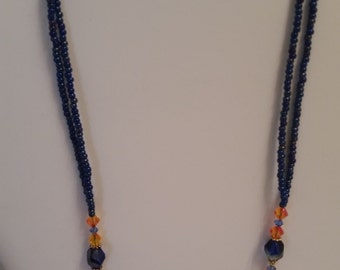 Blue Seed Bead and Swarovski crystal Necklace