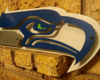 Triple layered steel Seahawks sign