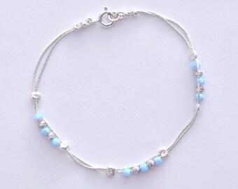 Bracelet sterling silver handmade beaded  bracelet opal
