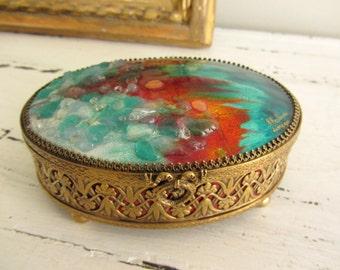 Box jewelry enamel Limoges by Chetan circled brass - 20543