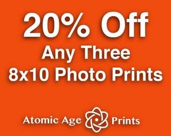 SAVE 20% - Choose any three 8x10 photo prints - Mid century vintage objects