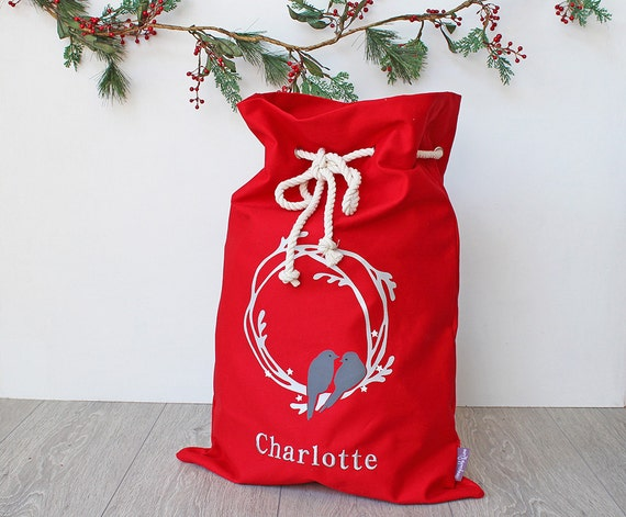 Personalised Santa Sack Red with Wreath and Birds, Christmas Sack, Christmas Bag, Christmas Decor for Kids