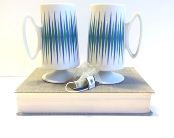 Vintage Art Deco Pedestal Mugs