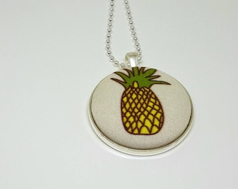 yellow pineapple fabric button silver plated pendant
