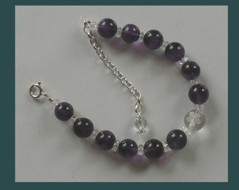 Amethyst Bead Bracelet (adjustable)
