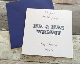 Wedding card- card wedding- personalised  wedding card- wedding card personalised-named card- mr and mrs- mr&mrs card