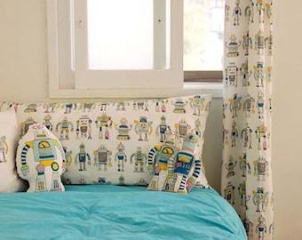 145cm / 57 inch Width, Robot Pattern Cotton Linen Fabric, Pillow / Tablecloths / Curtain / Sofa Fabric