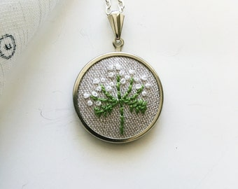 Queen Anne's Lace Hand Embroidered Necklace, Flower Pendant, Floral Gift For Her, Women's Jewelry, Gift Under 30, Gift For Mom