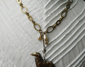 Handmade Stamped Brass Afghan/Wolfhound Assemblage Necklace - NRU214