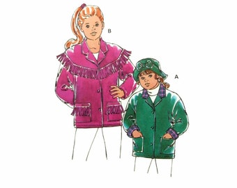 1994 Kwik Sew 2410 Girls' Front Button, Optional  Fringe Trim Jackets and Brimmed Hat, Uncut, Factory Folded Sewing Pattern Size 4-14 child