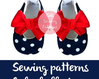 pdf sewing patterns for children/  newborn shoes patterns with bow/ newborn shoes baby accessory / ballet baby shoes/ Size 0m-12m/ NAVY DOTS