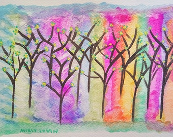 Abstract Landscape ORIGINAL Nursary Watercolor Painting, Trees and Flowers painting,colorful Small art, nature Art painting