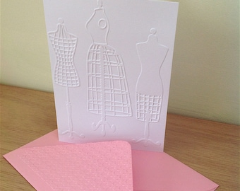 DRESSMAKER DUMMIES 6 Embossed Cards (No.48) - Pack of 6 - Blank Cards - Notelets - Birthday - Thank You - Note Cards - Correspondence Cards
