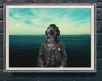 SALE 20,000 Leagues Under the Sea Diver Photo Portrait