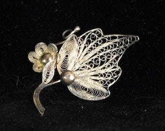 Sterling filigree brooch
