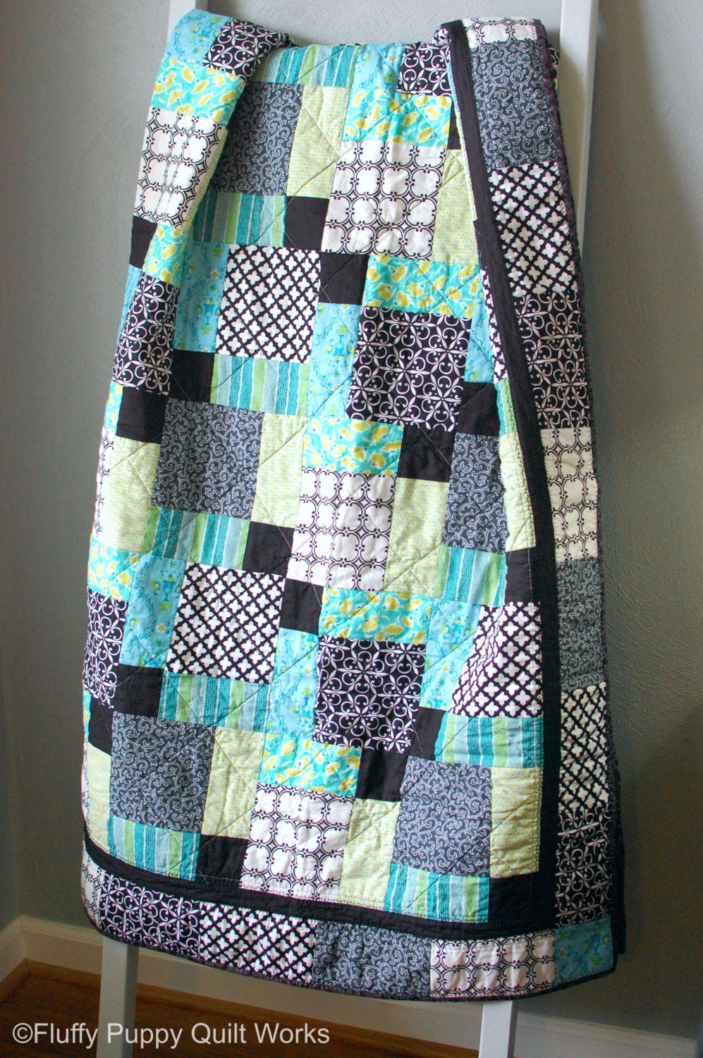 Modern Lap Quilt Teal Black White Green Blue Throw Quilt