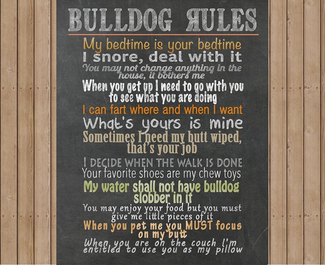 Bulldog Rules Digital Print Bulldog Art Digital File Diy
