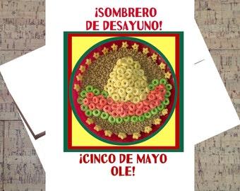 Cinco de Mayo, Spanish Card, Funny Holiday Card, Cereal, Humor Card, Funny Card, Sombrero
