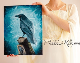 Raven-Bird painting-Crow-original oil wildlife nature-Raven-Blue-Black-Bird Portrait-Oil Painting-Woodland Animal - Gothic Art