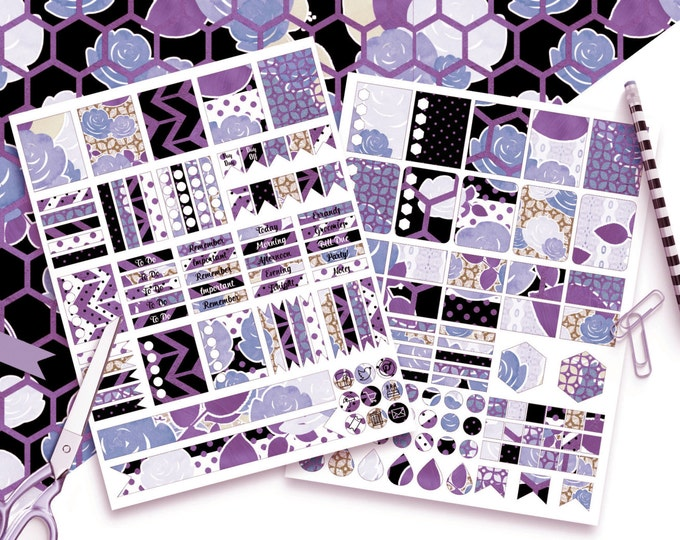 PURPLE FLORAL Digital Sticker Sheets Black White Blue Gold Metallic Flower Stripe Roses Printable Planner Stickers Erin Condren Stickers