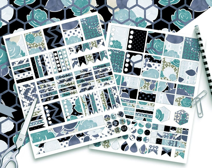 TEAL WATERCOLOR FLORAL Digital Sticker Sheets Black White Metallic Flower Stripe Autumn Printable Planner Sticker Erin Condren Stickers