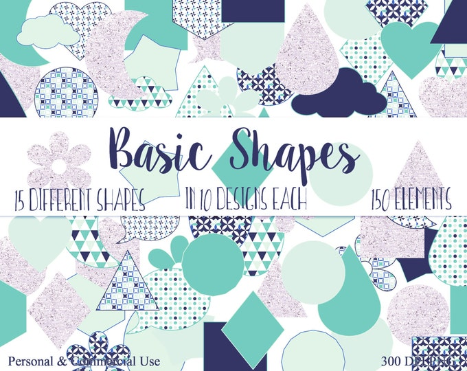 BASIC SHAPES Clip Art Commercial Use Clipart Navy Blue Blush & Mint Circles Flowers Triangles Stars Planner Sticker Clipart Shape Graphics