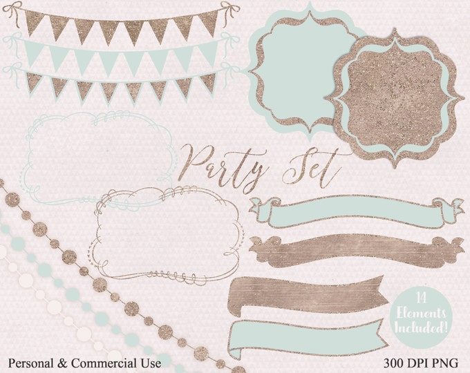 MINT & ROSE GOLD Party Clipart Commercial Use Clip Art Buntings Flag Banners Frames Fairy Lights Ribbon Birthday Party Wedding Clip Art