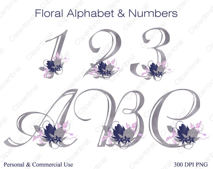 NAVY BLUE ALPHABET Clipart Commercial Use Clipart Wedding Monogram Letters & Numbers Pink Watercolor Flower Alpha Flower Bouquet Alphabet