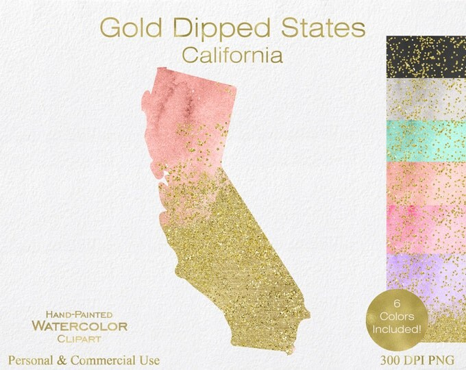 WATERCOLOR & GOLD CALIFORNIA Clipart Commercial Use Clipart United States Shape Wedding Clipart Gold Confetti Dust California State Clip Art