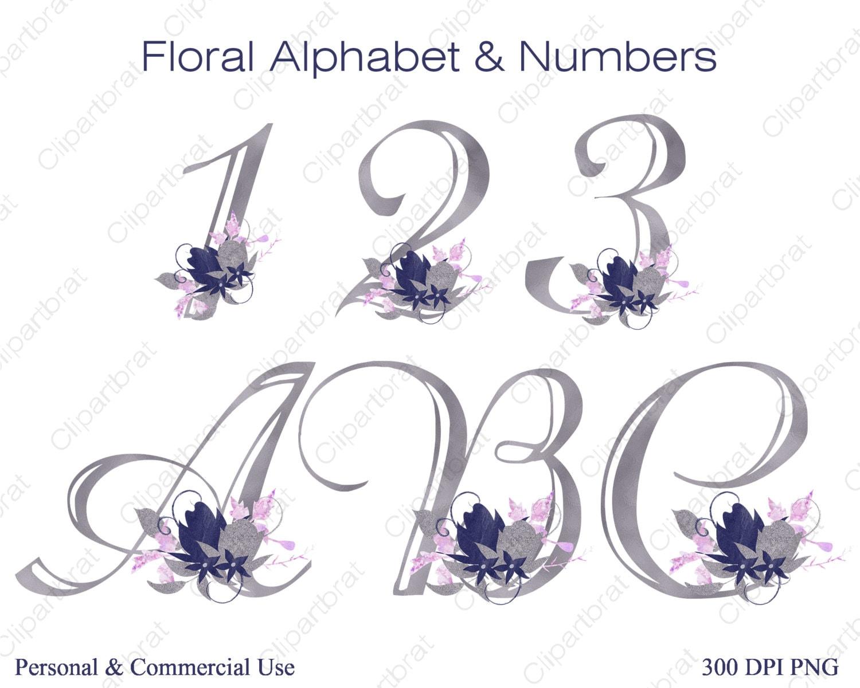 NAVY BLUE ALPHABET Clipart Commercial Use Wedding Monogram Letters Numbers Pink Watercolor Flower Alpha Bouquet Alphabet