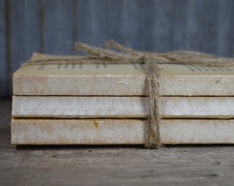 Urban Cabin Decor   Stack of Uncovered Old Books for Display   Rustic Wedding Decor   Raw Book Bundle with Twine   Decorative Old Books
